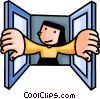 Vector Clipart picture  of a woman opening a window