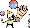 Clown juggling balls Vector Clipart picture