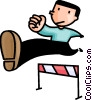 Vector Clip Art image  of a man running the hurdles