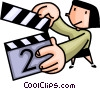 Vector Clipart graphic  of a Woman with a clapper board