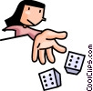 Vector Clipart graphic  of a Woman rolling the dice