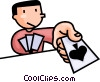 Vector Clipart image  of a Man playing cards