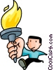 an Olympian running with the torch Vector Clip Art picture