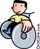 Vector Clipart graphic  of a boy in a wheelchair