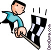 Vector Clip Art graphic  of a man waving the winners flag