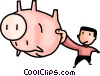 Vector Clip Art picture  of a man shaking his piggy bank