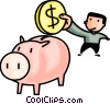 man putting change into his piggy banks Vector Clip Art graphic