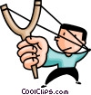 Vector Clipart picture  of a boy with a slingshot