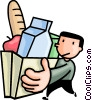 Vector Clipart image  of a man with a bag of groceries