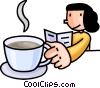 Vector Clip Art image  of a woman having coffee