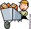 Vector Clip Art graphic  of a brick layer with a load of