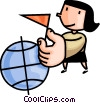 woman holding a flag with a globe Vector Clipart illustration