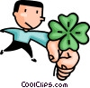 Vector Clip Art graphic  of a Man holding a clover leaf