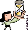 Vector Clipart graphic  of a Woman with an hour glass