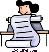 Vector Clipart image  of a woman on a typewriter