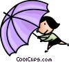 woman caught in the rain Vector Clipart illustration