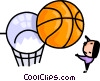 Vector Clipart graphic  of a Man playing basketball