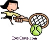 Vector Clipart illustration  of a woman playing tennis