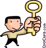 Vector Clip Art picture  of a man with a key