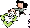 Vector Clipart picture  of a woman recycling paper