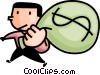 Vector Clip Art graphic  of a man with a bag of money