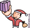 Vector Clipart illustration  of a Santa delivering presents