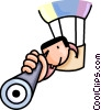 Vector Clip Art image  of a man in hot air balloon with