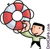 man with a life preserver Vector Clip Art picture