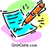Writing a letter Vector Clipart illustration