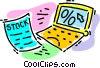 Vector Clipart image  of a stock certificate and a laptop