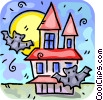 Vector Clipart image  of a haunted house with bats flying around
