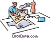 Vector Clip Art graphic  of a Seamstress