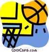 Basketballs and Nets Vector Clipart illustration