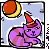 Vector Clip Art graphic  of a cat wearing a party hat