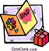 fathers day card and a gift Vector Clipart picture