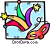Vector Clip Art graphic  of a mardi gras hat and mask