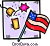 fire cracker and a American flag Vector Clipart illustration