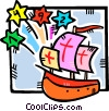 Christopher Columbus arrives in America Vector Clip Art graphic
