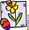 Vector Clip Art graphic  of a flower and a Easter egg