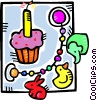 Vector Clip Art graphic  of a birthday cupcake