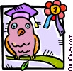 Vector Clip Art image  of a graduation school owl
