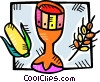 Vector Clipart graphic  of a chalice with corn and wheat