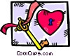 Vector Clipart image  of a Key to my heart