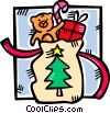 sack full of Christmas gifts Vector Clipart illustration