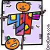 Vector Clip Art image  of a scarecrow and a pumpkin