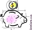 Vector Clip Art picture  of a Piggy Banks