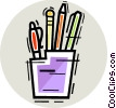 Assorted Pens Vector Clip Art graphic