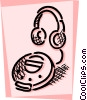 Vector Clipart graphic  of a Portable cd player and