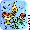 candle and a rose Vector Clip Art picture