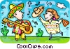 Vector Clipart picture  of a Spanish musicians singing and